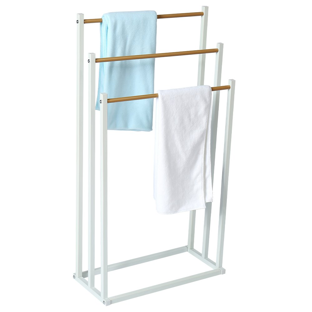 HOME BI Free Standing Towel Drying Rack, 3 Tier Metal Towel Bathroom Shelf, Rust-Resistant, Easy to Assemble by HOME BI