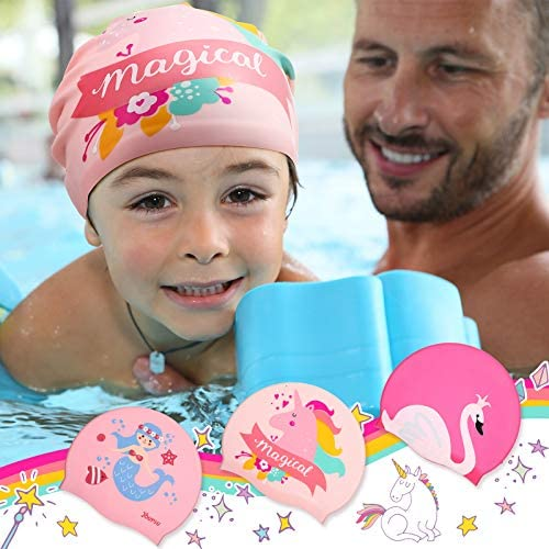 Syhood 3 Pieces Kids Swim Caps Baby Waterproof Bathing Caps Children Cartoon Swimming Hat for Long and Short Hair Kids Boys Girls Toddler