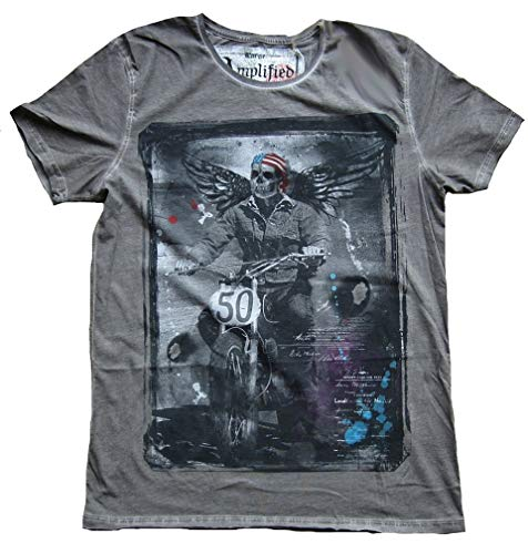 Amplified Ange And Style Gris Pour S Star Gothique Skull T shirt Stripes Washed unis États Biker Homme rFvrfwZq