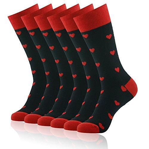 Heart Pattern Socks,SUTTOS Men's Women's Fun Fashion Dress Suit Socks Spade Black Red Charged Cotton Warm Long Tube Casual Dress Socks Valentines Day Gift Socks Heart Wedding Groomsmen Party Socks,6 ()