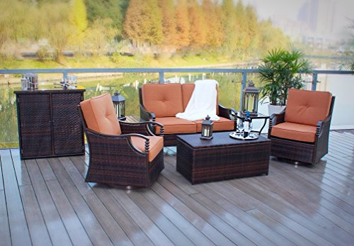 5pc Hand Woven Wicker and Aluminum Rocking Deep Seating Patio Set - Hand Woven Furniture