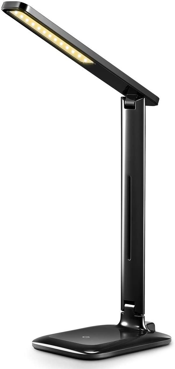 VicTsing Lampara Escritorio 42 LEDs Regulable, Flexo Escritorio LED Flexible con 3 Niveles de Brillo y 3 Modos, Cuidado de Ojos, Control Táctil y Bajo Consumo para Estudio, Oficina u Ordenador, Negro