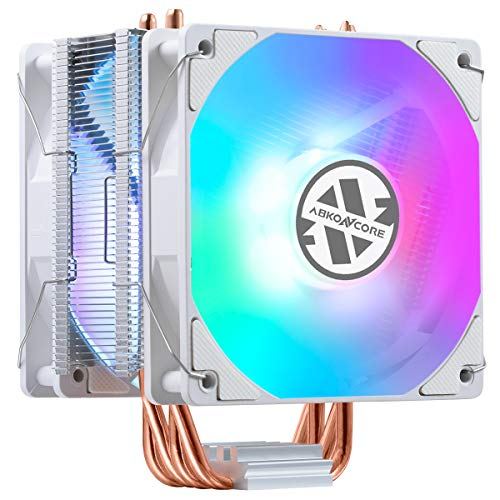ABKONCORE LED CPU Cooler White CT406W - Dual 120mm Quiet PWM Fans with Hydro Bearing and Anti-Vibration Pads, 4 Direct Contact Heatpipes, Rainbow Spectrum LED CPU Fan for LGA1151/1200, AMD AM4