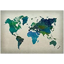World Map Watercolor (Cool) Collections Poster Print, 19x13