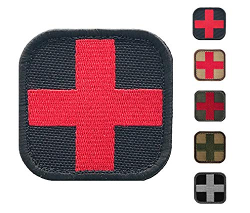 d Morale Patch - Stitch/Embroidered - Perfect for IFAK Rip Away Pouch, EMT, EMS, Trauma, Medical, Paramedic First Response Rescue Kit - Tactical, Combat, Emergency (Black-RED) ()