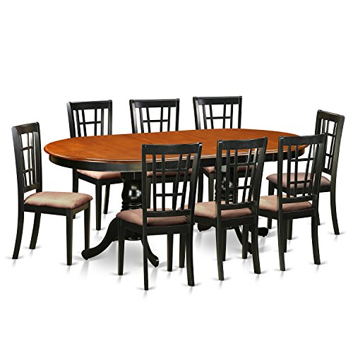 East West Furniture PLNI9-BCH-C 9 Piece Table with 8 Solid Wood Chairs Set (And Extendable 6 Chairs Dining Seater Table)