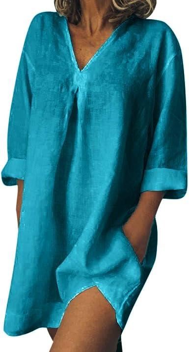 Mujer Verano Damas de Vestir Vestido de Talla Grande Camiseta de ...