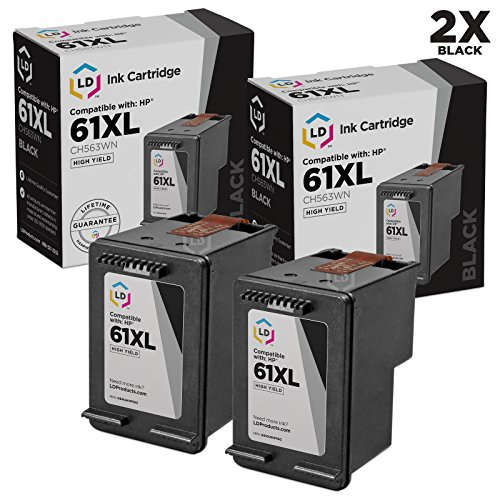 LD Remanufactured Replacement Ink Cartridges for HP CH563WN HP 61XL / 61 High-Yield Black (2 Pack) for the HP ENVY 5530, 5531, HP DeskJet 3054, J610a, 2514, 3512, 3056A, OfficeJet 4632 DeskJet 3056A