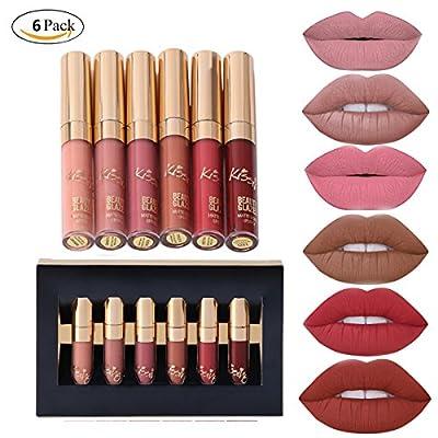 SHERUI Set of 6 Matte Velvety Liquid Lipstick Matte Liquid Lipgloss Waterproof Lip Gloss