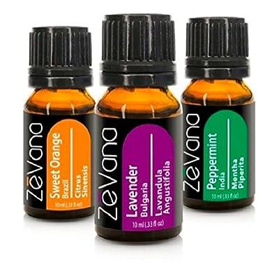 Essential oils Zevana Top 3 packs 100% Therapeutic Grade (Lavender, Orange, Peppermint)