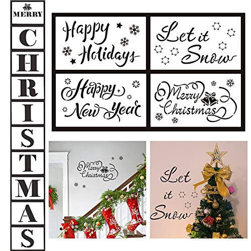 Christmas Stencils Template,Reusable Porch Logo Stencil,Merry Christmas,Let It Snow,Happy Holiday,Happy New Year Stencil Set for Home Décor & DIY Projects(14 pcs) (Merry Christmas And Happy New Year Logo)