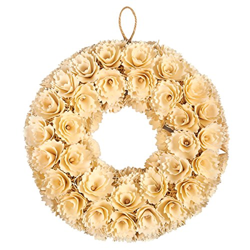Wreath Hanging Decoration (Indoor Outdoor Artificial Wreath Decoration - Floral Wooden Wedding Wreath, Hanging Wreath for Interior, Exterior Event Decor, White - 14.5 x 3 x 14.2 Inches)