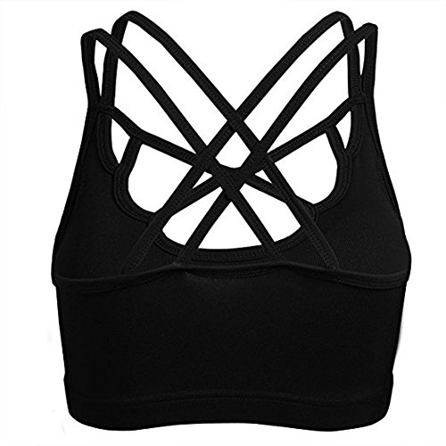 Price comparison product image Women's Strappy Crisscross Back Support Yoga Gym Sports Bra Tops