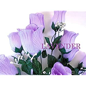 "Phoenix Silk Rose Bud Bush 12 Artificial Silk Flowers 20"" Bouquet 3974 LAVENDER 2"