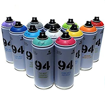 Graffiti Farben.Montana Mtn 94 Graffiti Spray 400ml Beliebtes Set 12 Aerosol Farben Street Art Wandbild