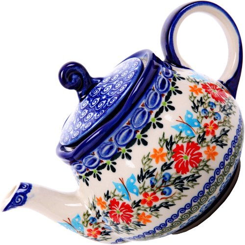 Polish Pottery Ceramika Boleslawiec,  0105/238, Teapot Fruti, 3 1/4 Cups, Royal Blue Patterns with Red Cornflower and Blue Butterflies Motif
