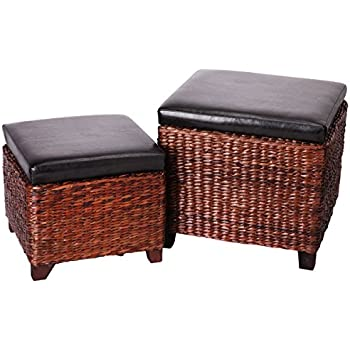 Ordinaire Eshow Ottoman Storage Foot Rest Hassocks Rattan Foot Stools Leather Ottoman  Seating Storage Bench 2