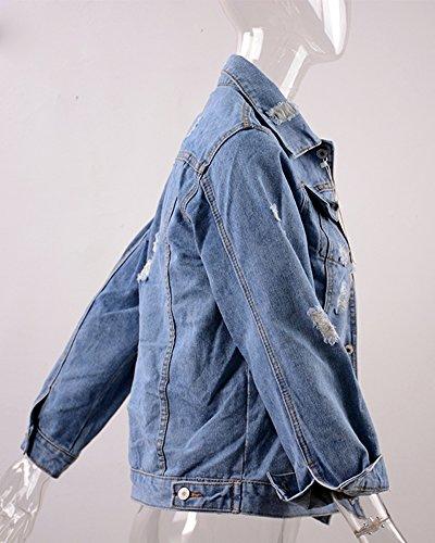 Veste Blousons Jeans Boutonnage Ac Femme Brodé Rose Denim Foncé Élégant Simple Bleu Jacket Manteaux Minetom Classique Lavé Blouson Coats bleu Z8aAwxqA6