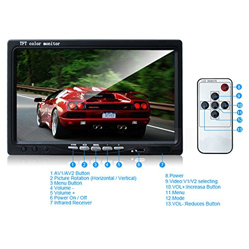 Ehotchpotch Backup Camera Kit for Bus Truck Vehicle, 7'' Color TFT LCD Widescreen16:9 Rearview Monitor, 4 Pin Connectors Waterproof CCD Camera IR Night Vision, Distance Scale Lines by Ehotchpotch (Image #3)
