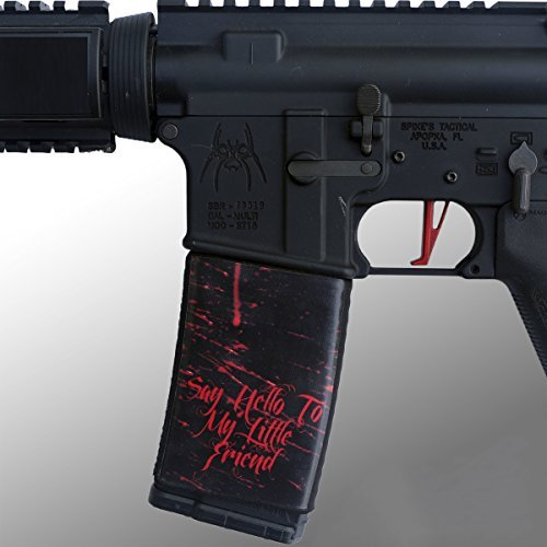 Ultimate Arms Gear 2 Pack of AR Mag Cover Socs for 30rd Steel/Aluminum USGI Mags, Say Hello To My Little Friend Black & Red Blood Spatter Emblem