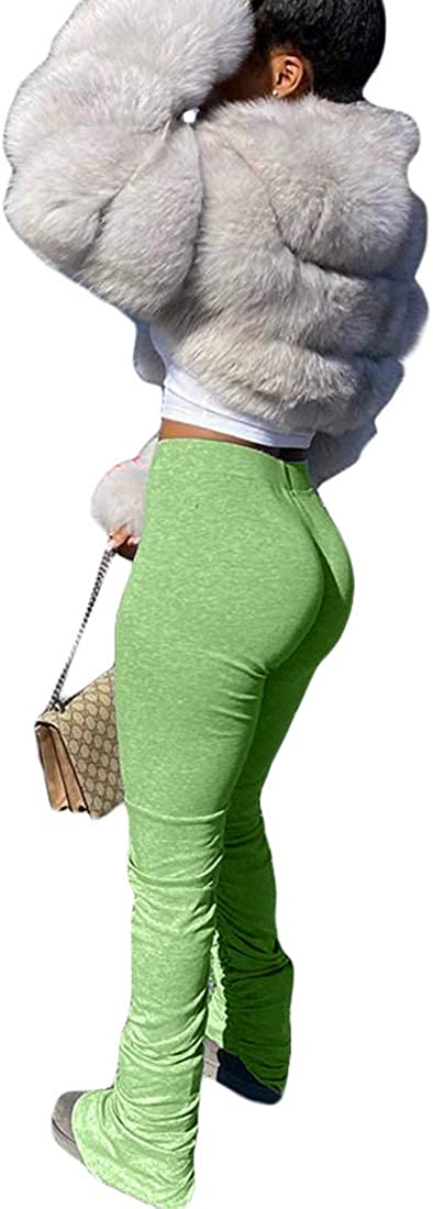 Ophestin Long Pants for Women High Waist Slit Ruffle Pleated Pencil Long Trousers Stretch Leggings Green1 S