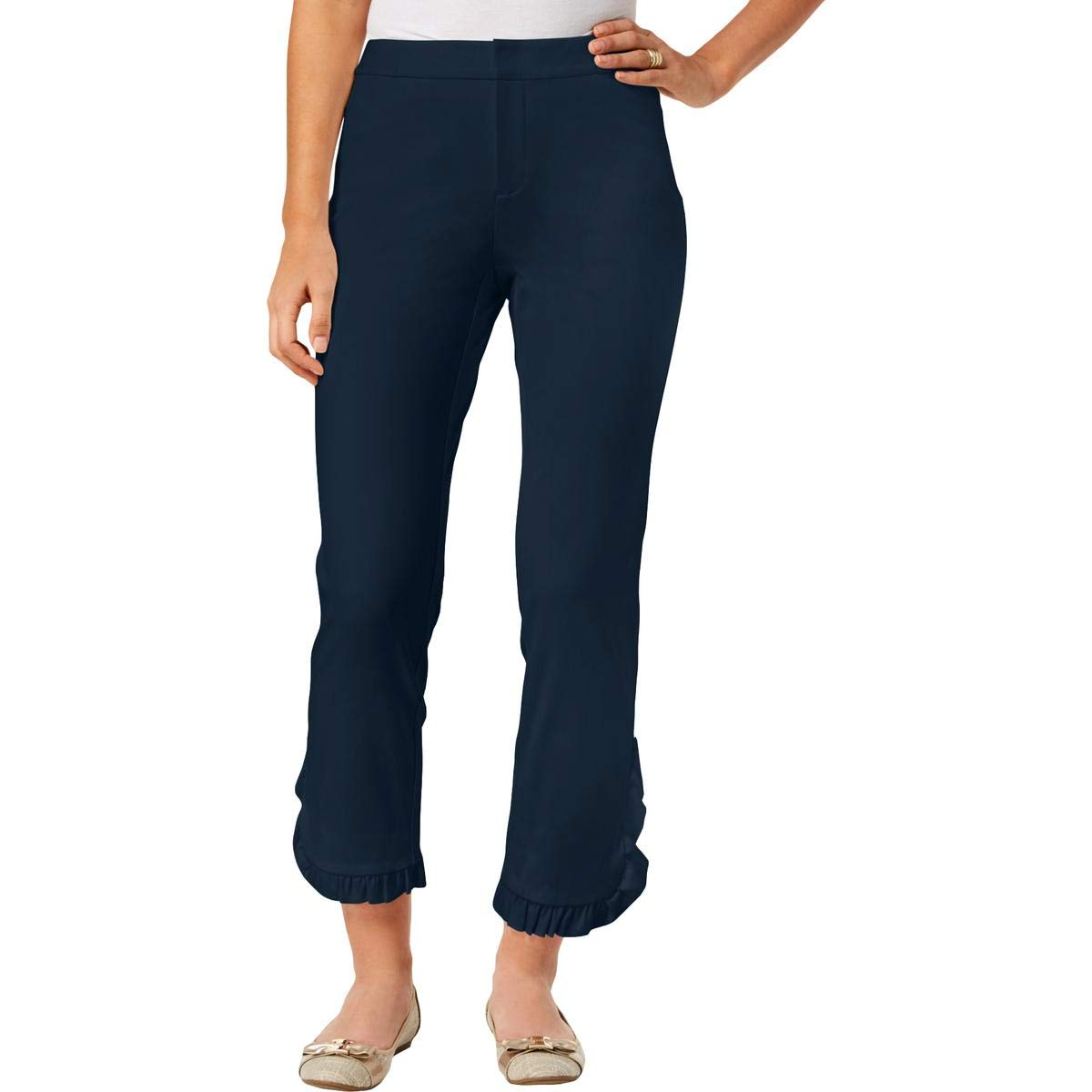 Intrepid blueee 8 Charter Club Womens Newport Slim Leg Ruffled Cropped Pants