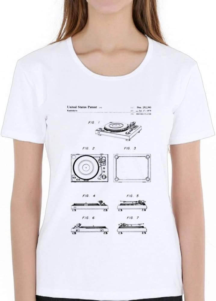 LIULINUIJ Camiseta De Mujer Moda De Verano para Mujer Reproductor De Discos De Manga Corta Patente 1979 Camiseta ...