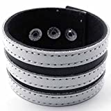 AnaZoz Fashion Jewelry Stainless Steel Men's Bangle Bracelet Cuff Leather Stainless Steel Fits 7 8'' Black White