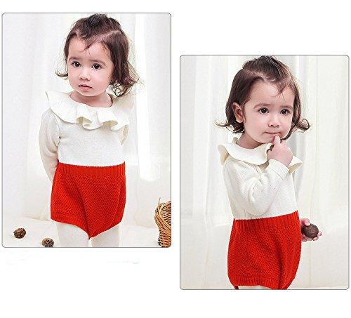 ec14b13b4 Amazon.com  Baby Girls Romper Knitted Ruffle Long Sleeve Jumpsuit ...