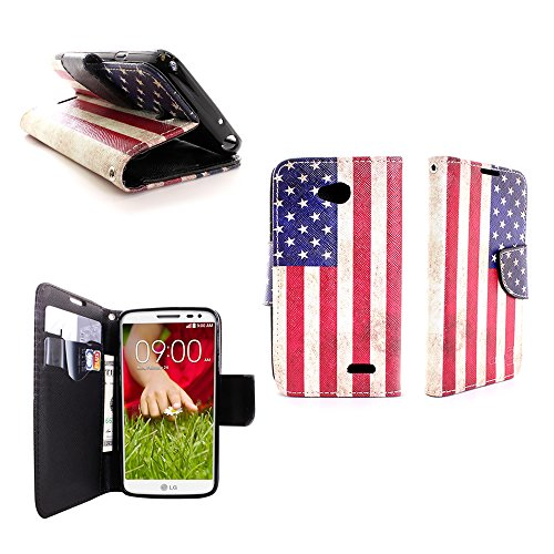 Flip Wallet Case for LG Optimus L70 Exceed 2 Realm Pulse Ultimate 2 L41C by CoverON - USA Flag Design Cover + Screen Protector (Case L70 Optimus Brown Lg)