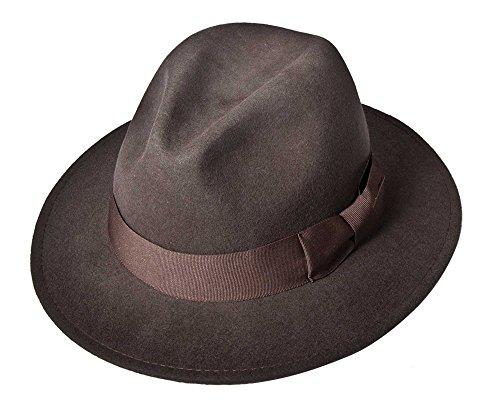 (Indiana Jones Ij552 Crushable Water Repellent Men's Wool Felt Safari ,Large,Brown-552)