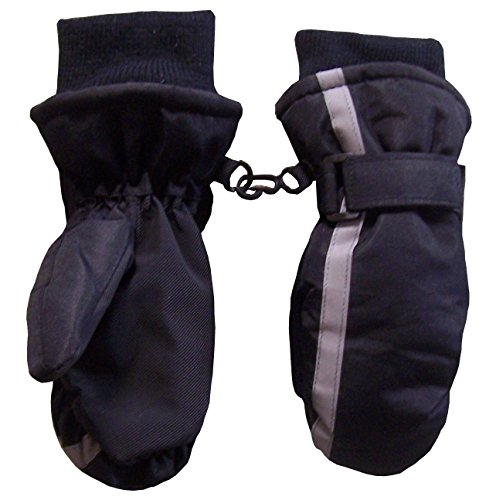 N'Ice Caps Kids Thinsulate and Waterproof Reflector Ski Mittens (2-3 Years, Black)