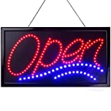 Large LED Neon Open Sign for Business: Jumbo Lighted Sign Open with Static and Flashing Modes - Electric Light up Signs for Stores, Bars, Barber Shops (24 x 13 inches, Model 1)