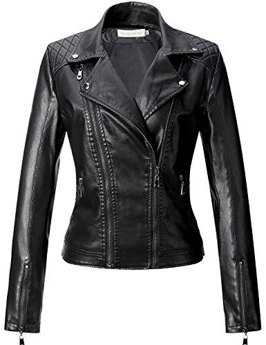 Uaneo Women's Slim Faux Leather Motorcycle Biker Jacket Outerwear (Large, Black)