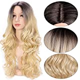 AISI QUEENS Ombre Long Curly Wig 2 Tone Blond