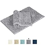 Flamingo P Super Soft Microfiber Bathroom Rugs Non Slip Shag Bath Mat for Kitchen Bedroom, 17'' x 24'' and 20'' x 32'', Grey, Two Pack