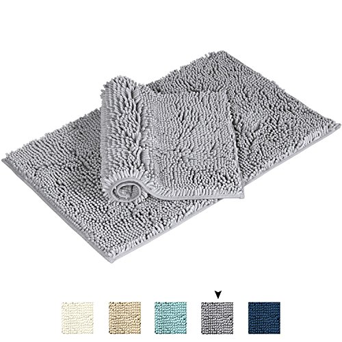 Flamingo P Super Soft Microfiber Bathroom Rugs Non Slip Shag Bath Mat for Kitchen Bedroom, 17'' x 24'' and 20'' x 32'', Grey, Two Pack by Flamingo P