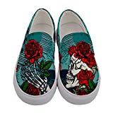 CowCow Women's Canvas Slip On Shoes Floral Sugar Skull Grunge Print - US8.5