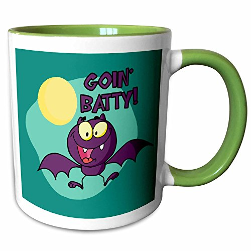 3dRose Dooni Designs Halloween Designs - Cute Silly Halloween Purple Bat Going Batty Humorous Holiday Design - 15oz Two-Tone Green Mug (mug_153711_12)]()