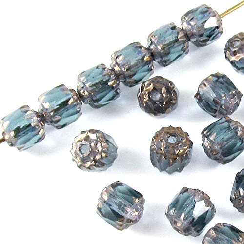 Faceted Czech Crown Cathedral Beads-MONTANA BLUE 6mm (25)