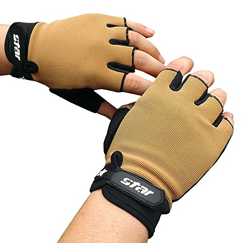 earance Men's Half Finger Antiskid Cycling Bike Gym Fitness Sports Fashion Warm Winter Gloves(Khaki,Size XL) ()