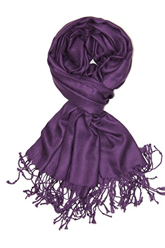 - Achillea Large Soft Silky Pashmina Shawl Wrap Scarf in Solid Colors (Plum Purple)