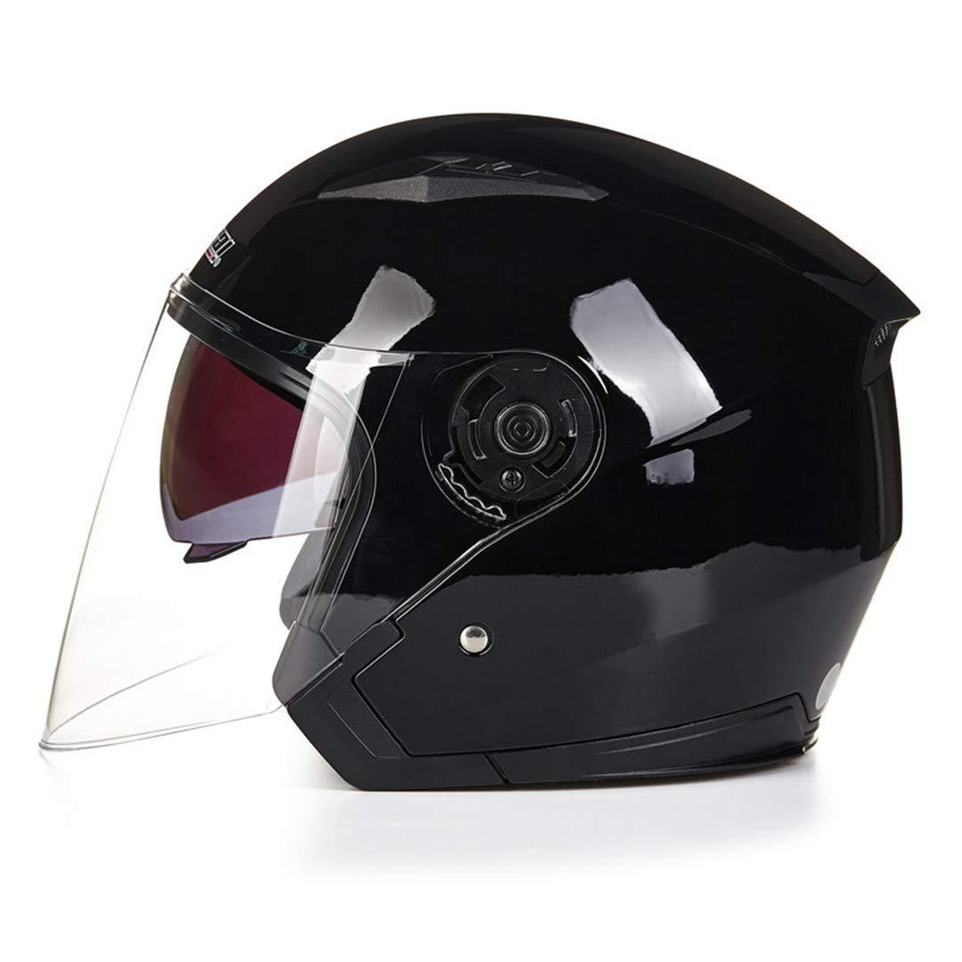 Henpooseng Casco Abierto Capacete para Motocicleta Cascos para Moto Racing Motocicleta Vintage Cascos con Doble Lente