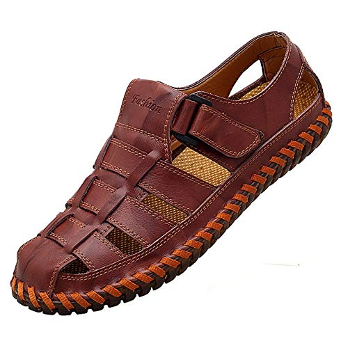 Closed Toe Sandal Fisherman - Qiucdzi Mens Sport Sandals Breathable Outdoor Fisherman Shoes Adjustable Closed Toe Summer Leather Loafters (7.0 M US, Maroon)