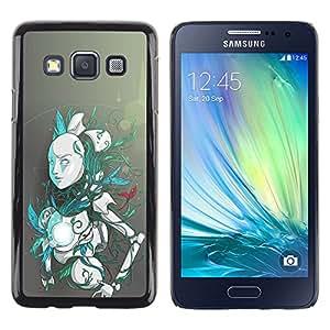 KLONGSHOP // Cubierta de piel con cierre a presión Shell trasero duro de goma Protección Caso - Robot Android - Samsung Galaxy A3 //