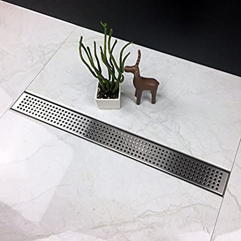 Neodrain Linear Shower Drain with Quadrato Pattern Grate, 24-Inch, Brushed 304 Stainless Steel, With WATERMARK&CUPC - Brushed Stainless Adjustable Flange