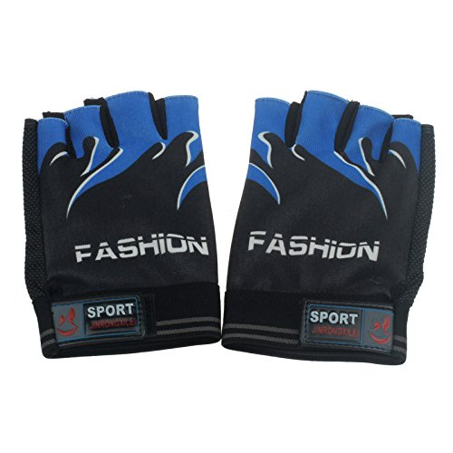 Camping & Hiking Dartphew 1Pair [ Sports Bicycle Cycling Biking Hiking Gel Half Finger Fingerless Gloves ] - Camping Hiking - Super abrasion palm material(Comfortable) (D)
