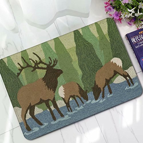 YQ Park Forest Elk Welcome Doormat Front Porch Decor Indoor/Outdoor Floor Mud Dirt Trapper Mats Cotton ()
