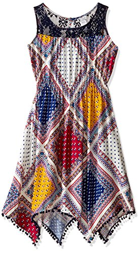 Emily West Big Girls' Sleeveless Printed Challis Hanky Hem Fashion Dress with (Challis Printed Skirt)