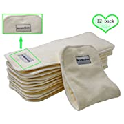 Bamboo Cloth Diaper Inserts-BumGenius Reusable Liners With a Fix Snap 4 Layers 12 Pieces 14 5